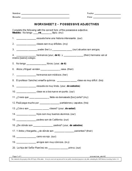 Possessive Adjective Spanish Worksheet Possessive Adjectives Worksheet 2 Worksheet for 9th 10th