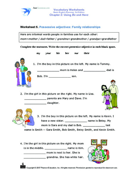 Possessive Adjective Spanish Worksheet Possessive Adjectives Worksheet Pdf with Answers لم يسبق له