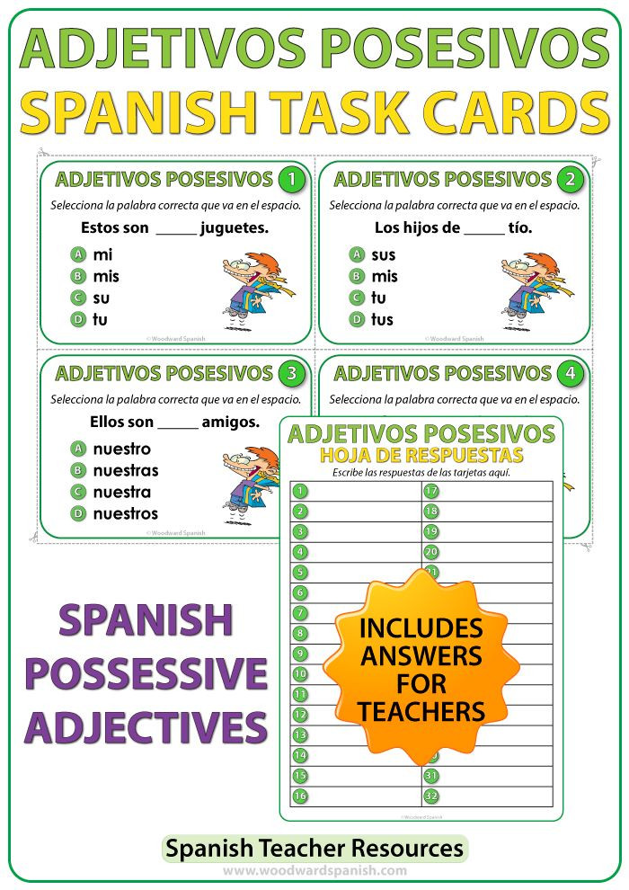 Possessive Adjective Spanish Worksheet Spanish Possessive Adjectives Task Cards Adjetivos