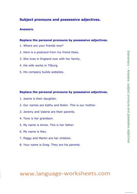 Possessive Adjectives Spanish Worksheet Subject Pronouns and Possessive Adjectives Language