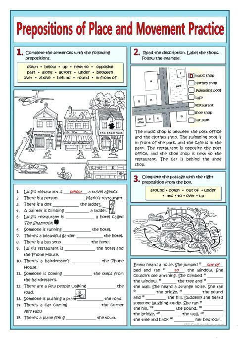 Preposition Worksheets for Middle School Prepositions Practice Worksheet Prepositions Place and