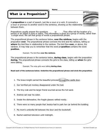 Preposition Worksheets for Middle School What is A Preposition Printable Worksheet