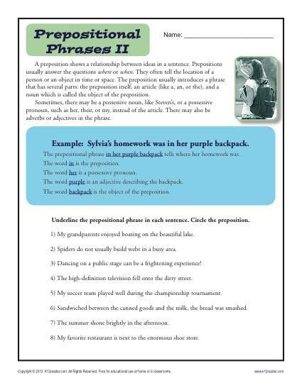 Preposition Worksheets Middle School Preposition Worksheet Prepositional Phrases