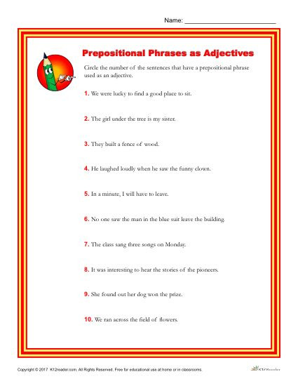 prepositional phrases as adjectives 2