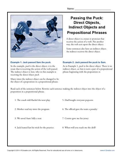 Prepositional Phrases Worksheet 6th Grade Passing the Puck Direct Objects Indirect Objects and