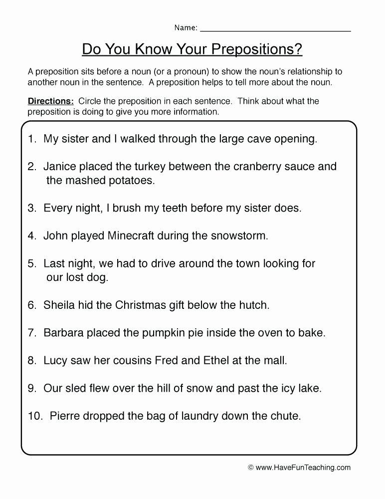 Prepositions Worksheets Middle School Pin On Examples Printable Preschool Worksheets