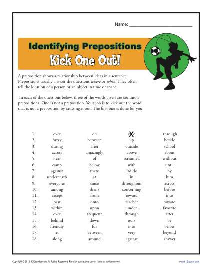 Prepositions Worksheets Middle School Preposition Worksheet Identifying Prepositions