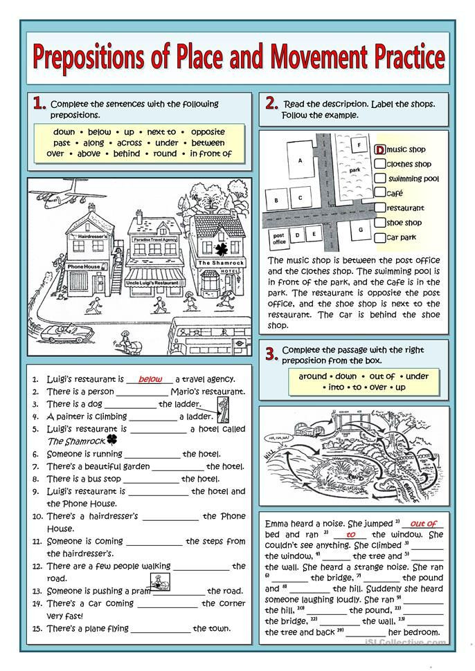 Prepositions Worksheets Middle School Prepositions Of Place and Movement Practice In 2020