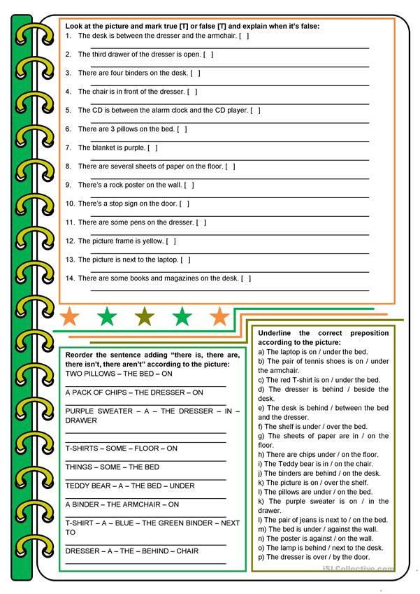 Prepositions Worksheets Middle School the Messy Room – there Be Prepositions to Be [4 Tasks