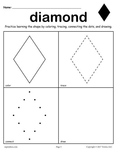 Preschool Diamond Shape Worksheets Diamond Shape Worksheet Color Trace Connect & Draw