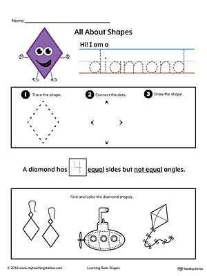 Preschool Diamond Shape Worksheets Early Childhood Shapes Worksheets