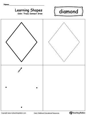 Preschool Diamond Shape Worksheets Learning Shapes Color Trace Connect and Draw A Diamond