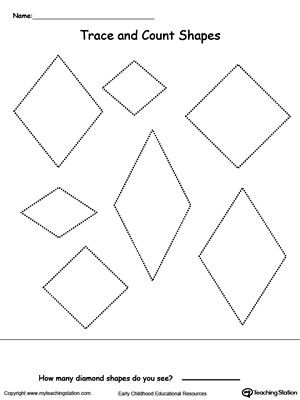 Preschool Diamond Shape Worksheets Trace and Count Diamond Shapes