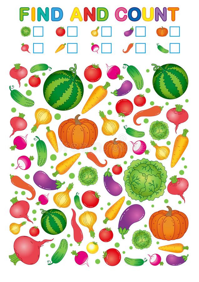 Preschool Fruits and Vegetables Worksheets Find and Count Printable Worksheet for Kindergarten and