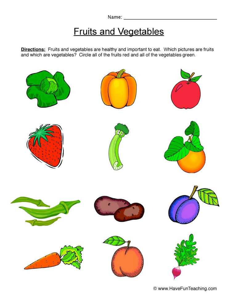 Preschool Fruits and Vegetables Worksheets Fruits and Ve Ables Worksheet