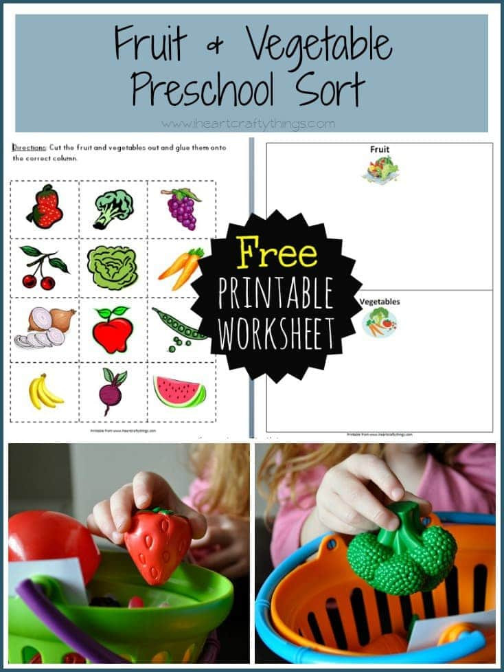 Preschool Fruits and Vegetables Worksheets Preschool Fruit and Ve Able sort