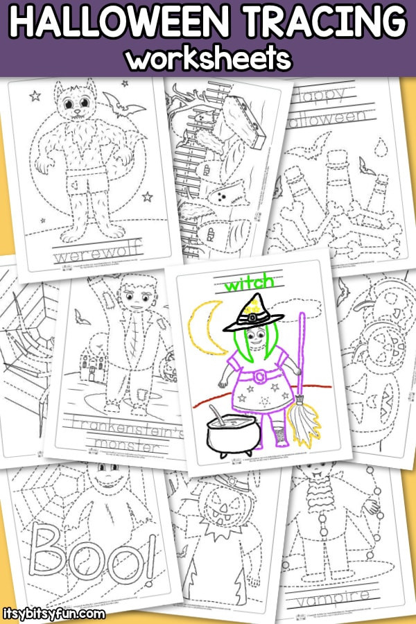Preschool Halloween Worksheets Free Halloween Tracing Worksheets Itsy Bitsy Fun