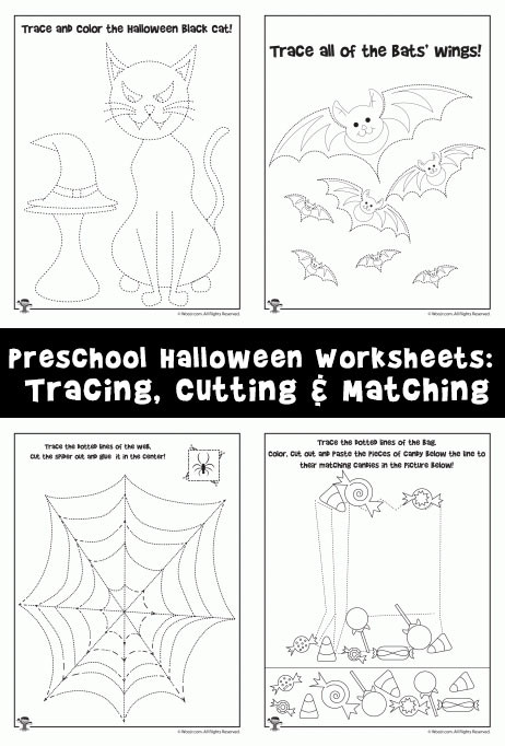 Preschool Halloween Worksheets Free Preschool Halloween Worksheets Tracing Cutting & Matching