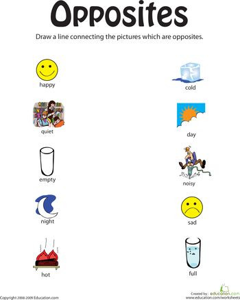 Preschool Opposite Worksheet Identifying Opposites From Happy to Full