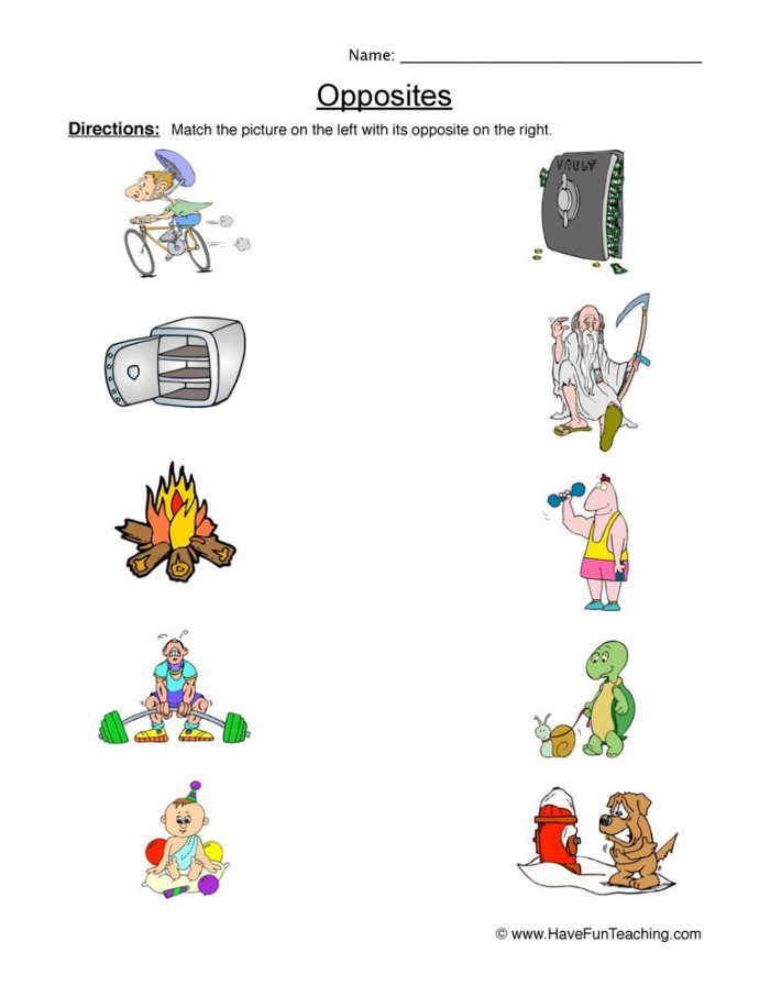 Preschool Opposites Worksheets Opposites Matching This and that Worksheets