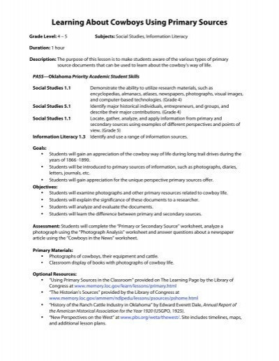 Primary and Secondary sources Worksheet Learning About Cowboys Using Primary sources Oklahoma