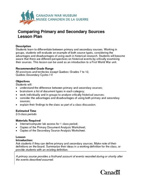 Primary and Secondary sources Worksheet Paring Primary and Secondary sources Lesson Plan for 7th