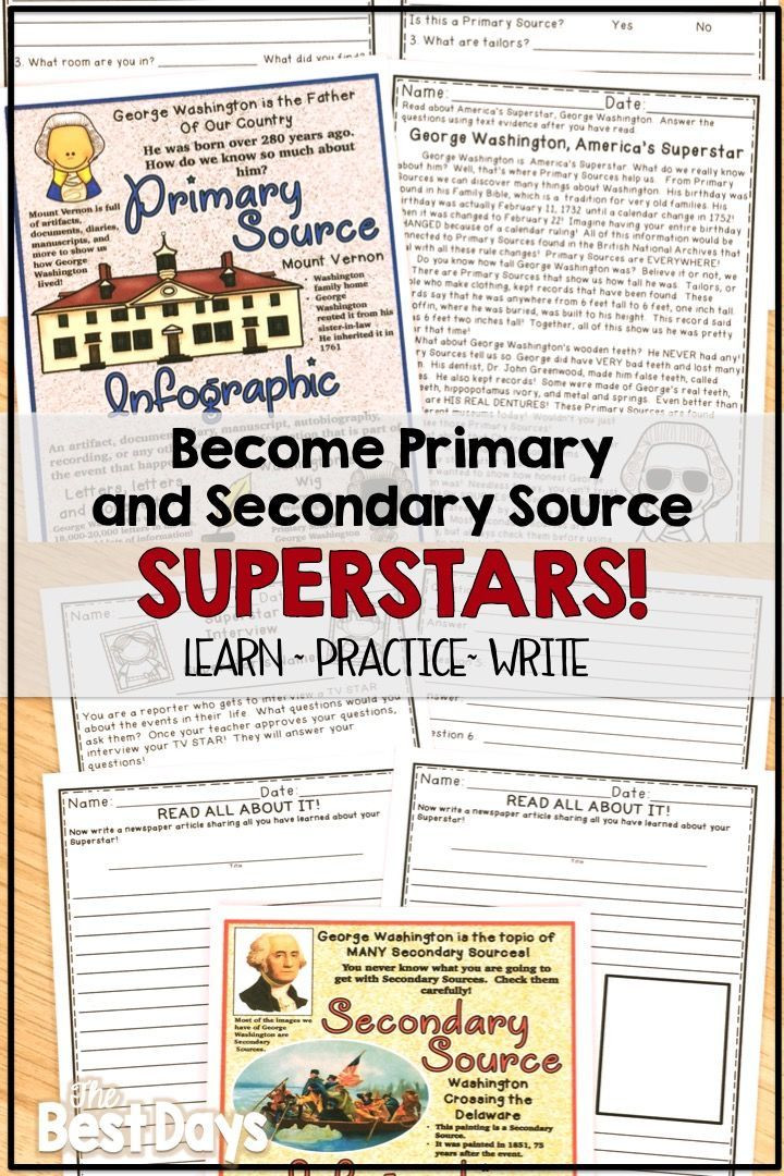 Primary and Secondary sources Worksheet Primary and Secondary source Activities