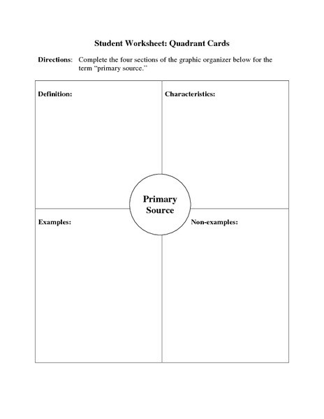 Primary and Secondary sources Worksheet Primary source Quadrant Cards Graphic organizer for 6th