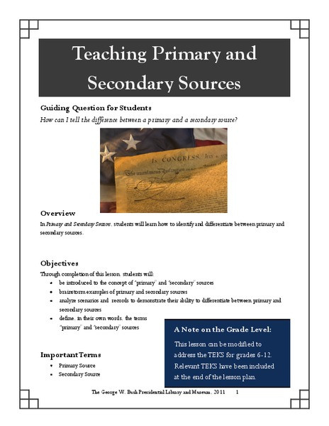 Primary and Secondary sources Worksheet Teaching Primary and Secondary sources Graphic organizer for