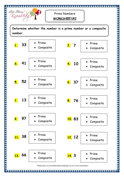 Prime and Composite Numbers Worksheet Grade 4 Maths Resources 1 11 Prime Numbers Printable