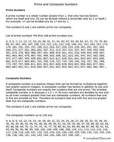Prime and Composite Numbers Worksheet Prime and Posite Numbers Planet12sun Printables
