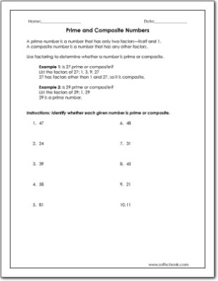 Prime and Composite Numbers Worksheet Prime and Posite Numbers Worksheet