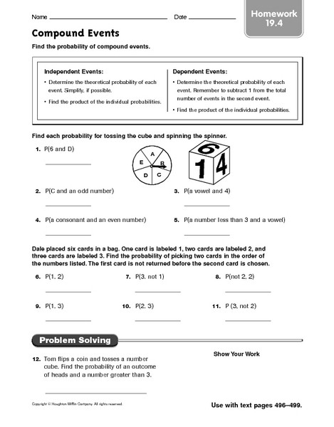 Probability Of Compound events Worksheet before and after events Math Worksheets Worksheet Adding and