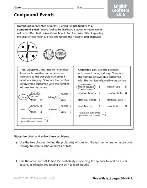 Probability Of Compound events Worksheet Pound events Ell 20 6 Worksheet for 6th 8th Grade
