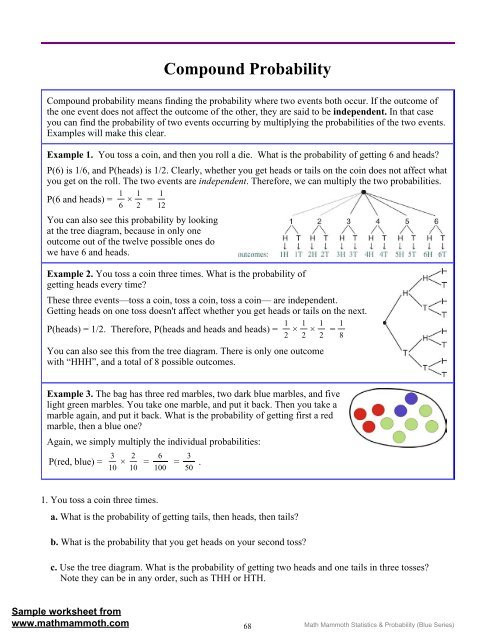 Probability Of Compound events Worksheet Pound Probability Math Mammoth