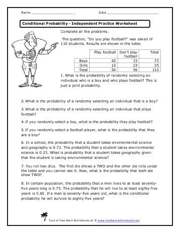 Probability Worksheet with Answers Conditional Probability Independent Practice Worksheet Math