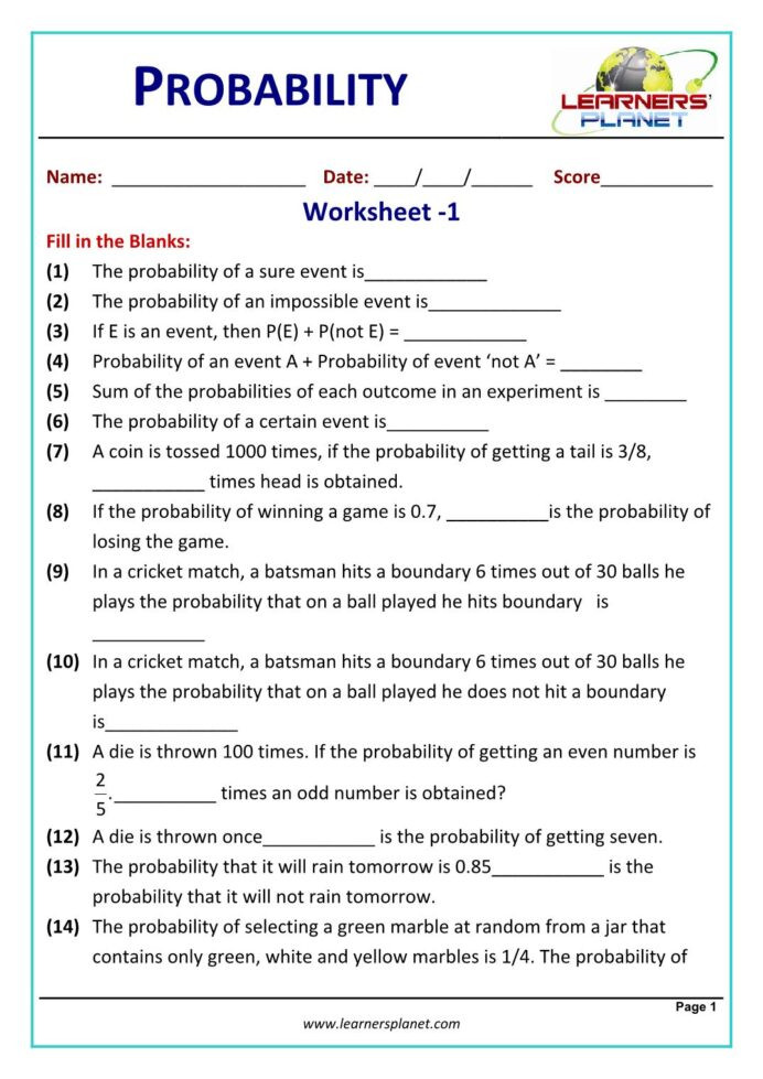 Probability Worksheet with Answers Printable Probability Worksheets Math Grade with Answers
