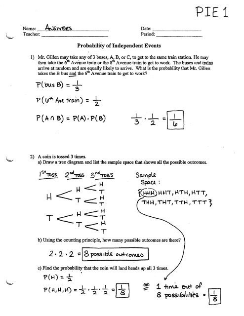 Probability Worksheet with Answers Probability Of Independent events Worksheet Pie1