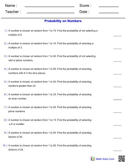Probability Worksheet with Answers Probability Worksheets with Answers Pdf In 2020 with Images