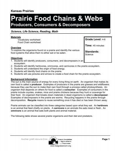Producer Consumer Decomposer Worksheet Prairie Food Chains & Webs