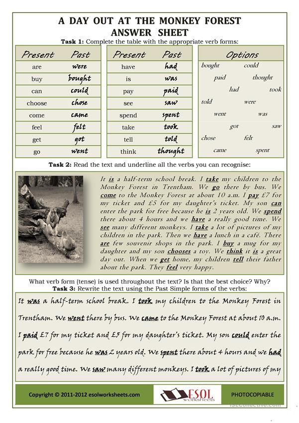Proofreading Worksheets High School A Day Out at the Monkey forest Using Irregular Verbs