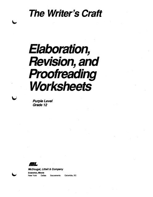 Proofreading Worksheets High School Elaboration Revision and Proofreading Worksheets
