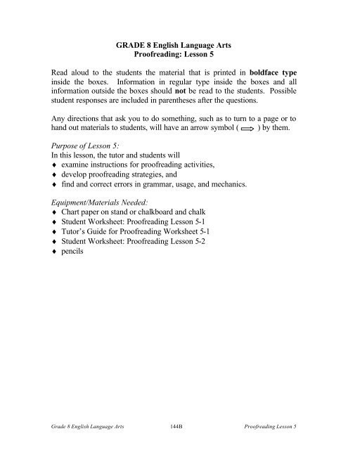 Proofreading Worksheets Middle School Grade 8 English Language Arts Proofreading Lesson 5 Read