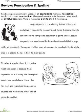 Proofreading Worksheets Middle School Proofreading Practice Punctuation and Spelling