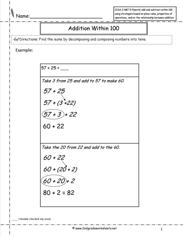 Properties Of Operations Worksheet Ccss Nbt Worksheets Two Digit Addition and Subtraction