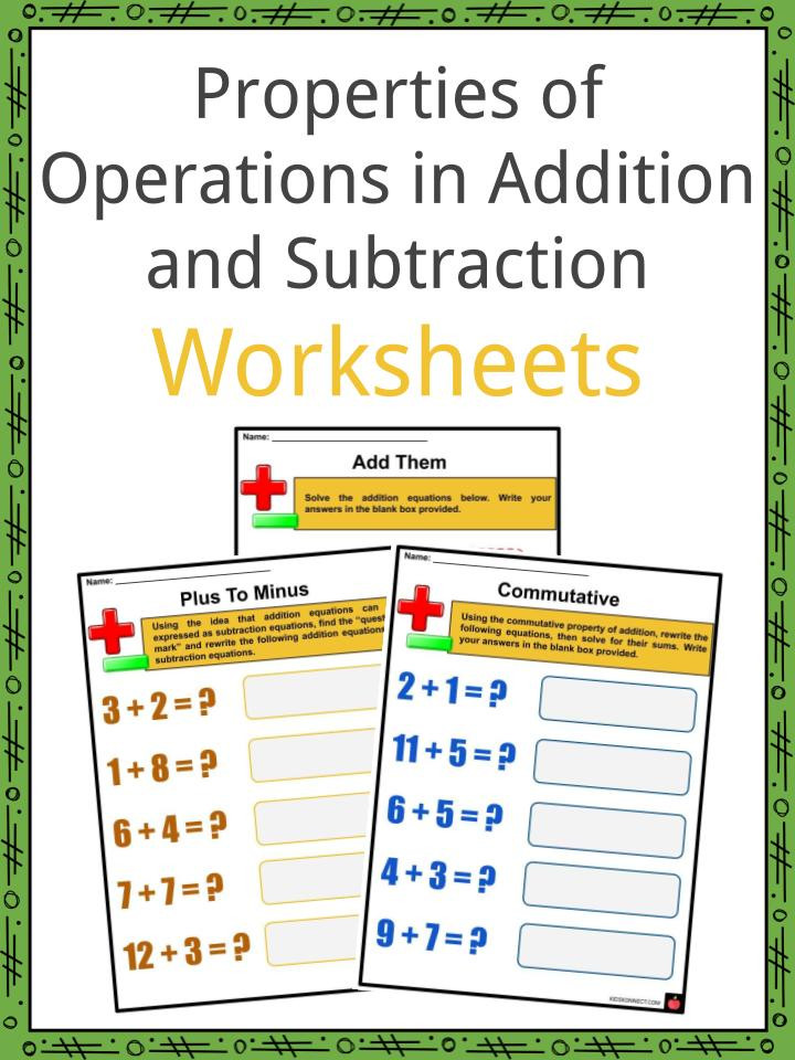 Properties Of Operations Worksheet Properties Of Operations In Addition and Subtraction Facts