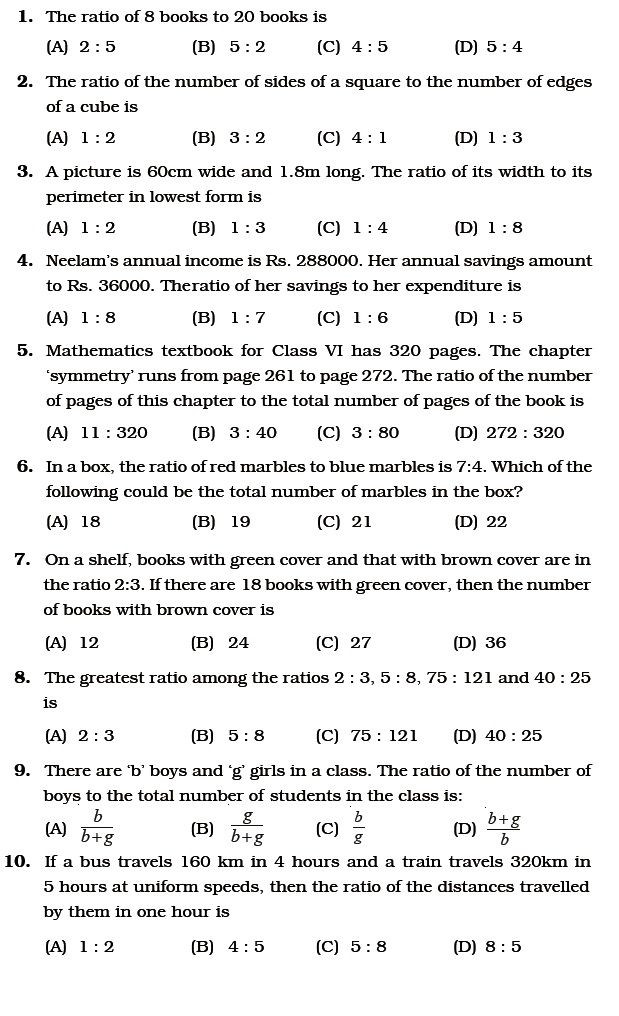 Proportions Worksheet 6th Grade Class 6 Important Questions for Maths – Ratio and Proportion