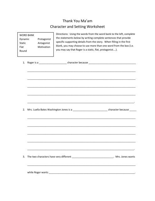 Protagonist and Antagonist Worksheet Thank You Ma Am Character and Setting Worksheet