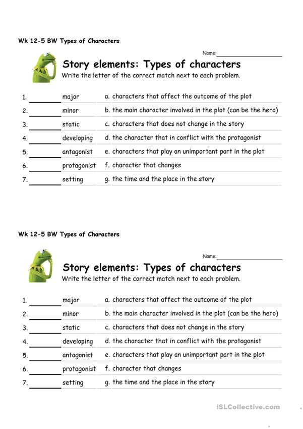 Protagonist and Antagonist Worksheet Types Of Characters English Esl Worksheets for Distance