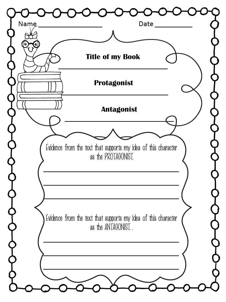 Protagonist and Antagonist Worksheet Use This to Check Understanding Of Protagonist and
